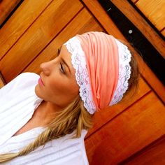 Coral Stretchy Lace Headband- Jersey Head bands  headband wide hair wrap hair covering head band. $22.00, via Etsy.