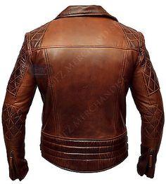 Mens Biker Classic Diamond Motorcycle Brown Distressed Vintage Leather Jacket