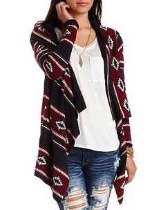 Aztec Cascade Cardigan Sweater: Charlotte Russe