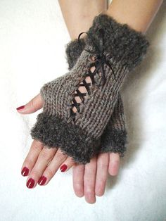 Fingerless Gloves Corset Wrist Warmers in Taupe with Satin Ribbons and Smokie Grey Boucle Edges Fancy Buttons, Boucle Yarn, Sweater Mittens, Fingerless Gloves Knitted, Wrist Warmers, Crochet Projects, Hand Knitting, Satin Ribbons, Taupe