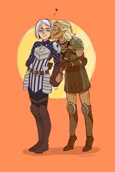 """My softie warden and Zevran """"I'm-short-50 sovereigns-for-this-outfit-that-I-need"""" Arainai.bonus pic for (this post) XD"""