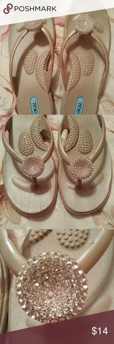 Shoes Okal Ladies Size (M) gold button inserted with rhinestone. Shoes that love you! CONDITION: NEW From a pet free and smoke free home. Flip Flops, Shoes Sandals, Bee, Shop My, Smoke Free, Button, Gold, Closet, Things To Sell