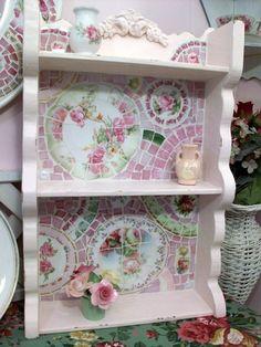 Chic and Shabby Prim Pink China Mosaic Shelf by hillspeak, via Flickr
