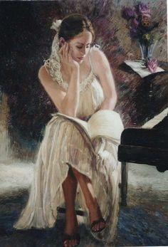 Nenad Mirkovich 1951 | Serbian painter | Music playing