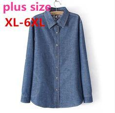 2015 new Spring summer autumn women plus size long sleeve medium-long denim shirt women's big size clothing set XL-6XL