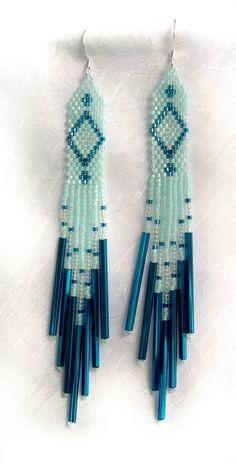 Native American Aqua Beaded Earrings