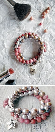 """Triple wrap beaded bracelet. It is a beautiful combination of rose rhodonite, fine silver pearls and large rough gray pearls. """"Random"""" arrangement of different size, shape and color of the beads makes the bracelet very attractive. Silver plated charm-star with a face, as a symbol of happiness. And it is very convenient lobster clasp."""