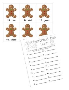 "This is Gingerbread Man Hunt (for sight word review).  I am going to ""hide"" the cards around the room (like ""Read the Room"", but sort of half-hidden where the kids might see part of the cards peeking out).  Once they find a Gingerbread Man they have to read the sight word then write the sight word on the answer sheet next to the same number that is on the card."