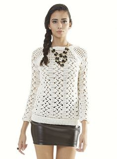 """Free Crochet Pattern: Blouse Anne. There Is A Button At Bottom, """"SEE GRAPH"""". This May Be Easier Than Understanding Translated From Portuguese, Unless You Can Read Portuguese."""