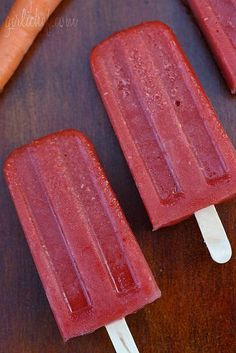Carrot, Mango, & Raspberry Popsicles: These Carrot, Mango, & Raspberry Popsicles mix fruit and veggies to create a tasty treat that teething tots will love to bite. Cooked carrots are so sweet that they perfectly complement the fruit flavors.  Source: GirliChef