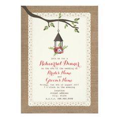 Burlap Inspired Floral Lantern Rehearsal Dinner 5x7 Paper Invitation Card