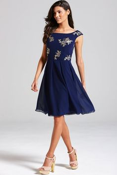 Little Mistress Navy Sequinned Floral Fit and Flare Dress - Little Mistress from Little Mistress UK