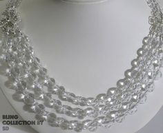 #SD104 - BLING! COLLECTION . 3 STRAND.Crystal.Clear.Focal.Rhinestone.Flower