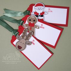 =A Crafty Cat: Stampin' Up! Christmas in July - Cookie Cutter Christmas tags Christmas Tags Handmade, Homemade Christmas Cards, Handmade Gift Tags, Etsy Christmas, Christmas Gift Tags, Xmas Cards, Nordic Christmas, Christmas Candles, Modern Christmas