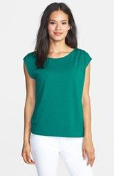 Eileen Fisher Ballet Neck Jersey Cap Sleeve Top (Regular & Petite)