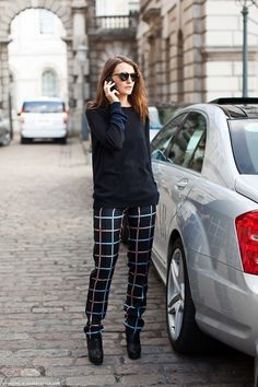 Bold windowpane pants.