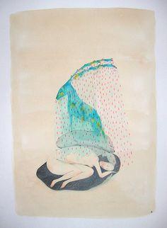 """Cendre Noire - Print """"La pluie de Pleinesource"""""""