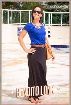 Look do Dia - Alongue-se - #benditolook #lookdodia #lookoftheday #fashion #moda #style #estilo #saia #azul #preto #skirt
