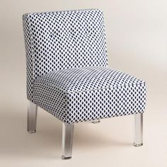 One of my favorite discoveries at WorldMarket.com: Randen Upholstered Chair in Blue Prints - Acrylic Legs