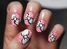 Black/White Bows on Pink Manicure by Hey, Nice Nails! (love the amount of girly goodness in this picture!)