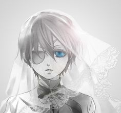 There's a lot of art that exaggerates Ciel's femininity but somehow in this art work, with a veil, he just looks regal