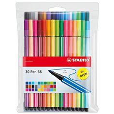 Marker Pen, Permanent Marker, Stabilo Point 68, Cool School Supplies, Fineliner Pens, Stabilo Boss, Stationery Pens, Pen Sets, Gel Pens