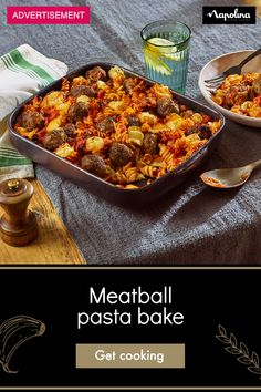Meat Recipes, Pasta Recipes, Dinner Recipes, Cooking Recipes, Healthy Recipes, Meatball Pasta Bake, Italian Pastries, French Pastries, English Food