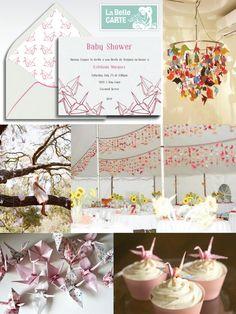 Invitaciones de Baby Shower Rosa de Originami. Decoración e ideas: http://www.labellecarte.com/la_belle_blog/2012/06/13/1000-garzas-de-origami-buena-suerte-para-tu-boda-baby-shower-o-fiesta-con-invitaciones-e-ideas-de-origami/#    La Belle Carte