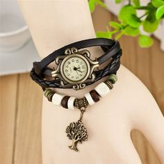 The latest bestsellers Woman Charm Bracelet Watches Leather Multi Layer Tree of Life Wrist Watch