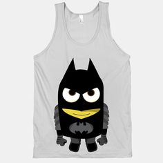 Flaunt your inner nerd with this hilariously adorable Bat Minion tank. The Minion has the power. The American Apparel Tank Top is a combed cotton, mid-lightweight jersey fabric tank with a classic, slimming cut Batman Minion, Minions, Batman Superhero, Funky Outfits, Cute Outfits, Sweater Jacket, American Apparel, Graphic Tees, Tank Man