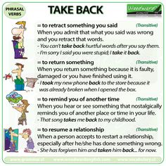 TAKE BACK - English Phrasal Verb with meanings and example sentences.