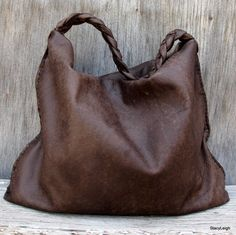 Distressed Brown Soft Slouchy Hobo Bag