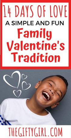 This very easy and meaningful Family Valentine's Tradition sets a wonderful tone of LOVE in your home! 14 prompts (one for each day) with simple ways to shower your family with Valentine's Love. Start this beautiful Valentine's Tradition with your family this year! #familyvalentinestradition #valentinestradition #valentinesgifts #ideasforvalentines