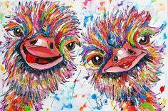 "Schilderij "" Struisvogels lippenstift "" 120 x 80"