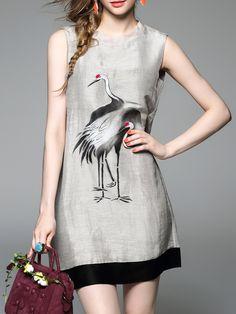 #AdoreWe #StyleWe Dresses - D.FANNI Gray Crew Neck Sleeveless A-line Mini Dress - AdoreWe.net