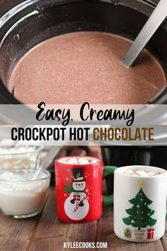 A thick, creamy and totally decadently rich crockpot hot chocolate that can be made and kept warm for hours! Perfect for Fall and Winter celebrations (or any old Tuesday). More from my siteEasy Creamy Crockpot Hot Chocolate Crockpot Hot Chocolate, Homemade Hot Chocolate, Hot Chocolate Bars, Hot Chocolate Recipes, Chocolate Smoothies, Crockpot Hot Cocoa Recipe, Homemade Hot Coco, Crock Pot Hot Chocolate Recipe, Sweet 16 Sleepover