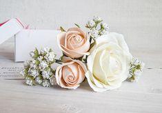 Flower hair pins Gypsophila Peach ivory small roses Bridesmaid