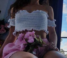Crochet Off Shoulder Top, Off Shoulder Tops, Top Crop Tejido En Crochet, Crochet Summer Tops, Crochet Tops, Thing 1, Spring Tops, Top Pattern, Double Crochet
