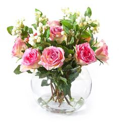 Pink Roses with Snowberries