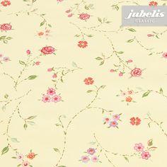 jubelis® Tischwäsche aus Wachstuch Bella gelb mit kleinen bunten Blumen für Vintage und Landhausstil