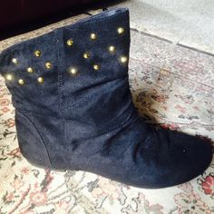 Shoedazzle Cavort faux suede studded boots 8.5 Excellent used condition,  worn only a few times to know that .-I need an 8 Shoedazzle Shoes