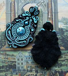 Large Soutache Classic Earrings with Swarovski by margoterie