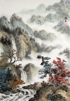 56 Ideas For Chinese Landscape Art Japan Painting, China Painting, Oil Painting Abstract, Chinese Landscape Painting, Landscape Art, Landscape Paintings, Chinese Drawings, Japanese Artwork, Art Asiatique