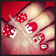 christmas nails, sowman, polka dots, red, white, reindeer, holiday, nail art, manicure, love, cute, easy, diy