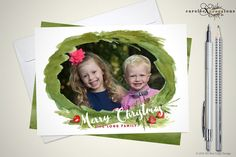 Watercolor Wreath / Merry Christmas Photo by caroleeXpressions