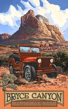 Bryce Canyon National Park / Red Jeep Poster • PAL-1119 | The Parks Company