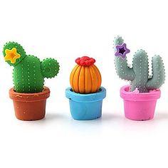 Papelaria+Set+Escola+bonito+Cactus+Eraser+(12+unidades) +–+BRL+R$+24,59