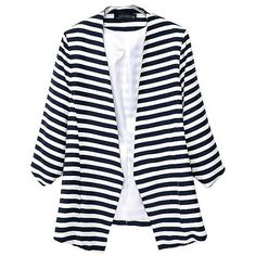 Black and White Striped 3/4 Length Sleeve Casual Blazer ($26) ❤ liked on Polyvore