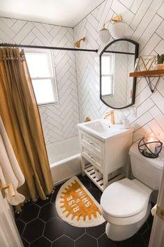 Tiny Home Interior Guest Bathroom Reveal + Links To Decor! Tiny Home Interior Guest Bathroom Reveal + Links To Decor!,Best Bathroom Tiny Home Interior Guest Bathroom Reveal + Links To Decor! Bad Inspiration, Bathroom Inspiration, Bathroom Inspo, Boho Bathroom, Black Bathroom Decor, Bathroom Yellow, Relaxing Bathroom, Bathroom Colors, Colorful Bathroom