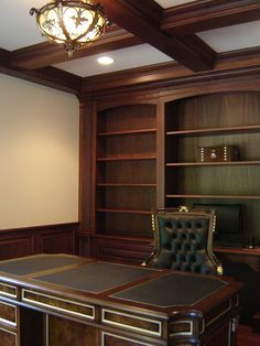 Custom Made Mahogany Home Office With Wainscoting And Beam Ceiling